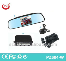 hot selling wireless reverse camera and parking sensor 4.3inch mirror with camera easy installation