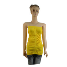 latest design hot sell pleated Strapless sleeveless garment