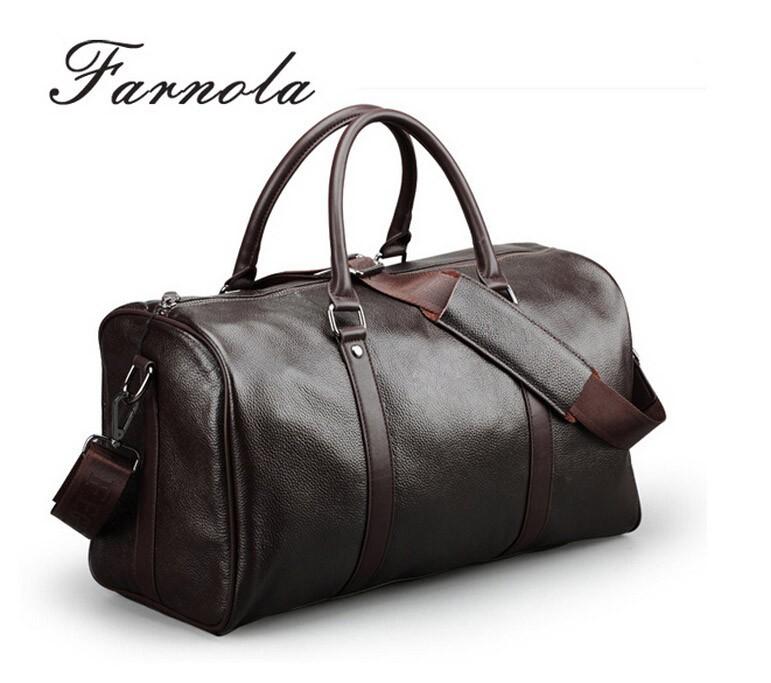 new design brand names mens genuine leather travel bag