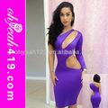 2014 großhandel 50 stück oem moq sieben farben eine hülse tiefen v-ausschnitt taille nackt superelastischen lila damen kurze engen kleid