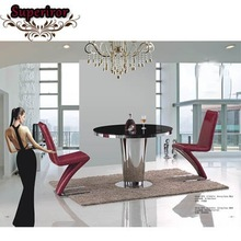 wholesale home furniture stainless steel and tempered glass dining table