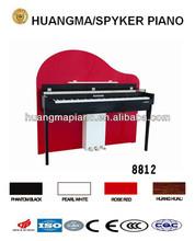 Digital Piano Factory 88 keys Touch Sensitive Hammer Keyboard MIDI Red Polish HUANGMA HD-8812 Upright Digital Piano