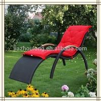 teak handle black synthetic rattan sun lounger