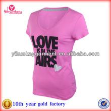 Womens 100%cotton Fashion Print Sport T shirt