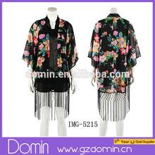 New Fahison Women Printed Kimono Jacket Ladies Cardigan Ladies Silk Kimono
