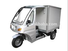 Refrigerator three wheel motorcycle with closed cargo box