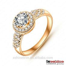 New Designs Finger Ring Gold Plated Round Cubic Zirconia Fashion Ladies Wedding Ring anillos de oro CRI0006-C