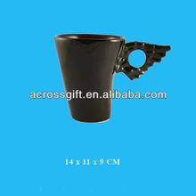 fashion matt black wing handle artistic ceramic cup