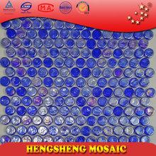 Glass Tile Round Blue Mosaic Beautiful Colorful Cheap Price 8mm Foshan Rainbow HC04