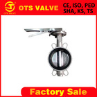 Bv-SY-209 wafer butterfly valve stainless steel body and disc rubber seat DN200 with hand lever