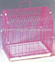 pink small plastic pan metal wire bird breeding cage