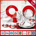 Popular moderna de porcelana cerâmica louça conjuntos com vermelho e preto listras brancas( shs2276)