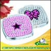 metal square compact mirror with diamond for gift