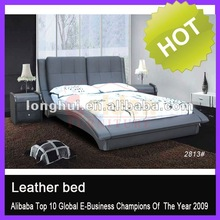 Classical Bed Designs Plush Black Leather Upholstered Bed G801#