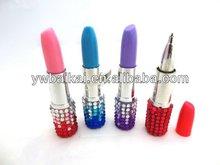 Promotional bling crystal lipstick shape ballpoint pen