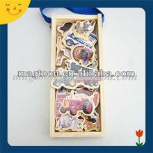 Custom design decorational car shape magnetic wooden puzzle