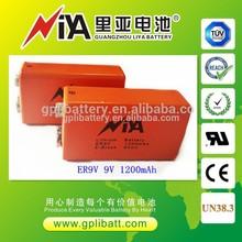 Very Hot! best quality 9v battery 1200mAh lithium batterie