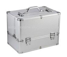 Silver Saluminium frame hard beauty case makeup case ABS aluminum cosmetic case&box