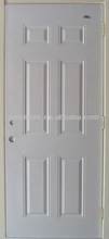 6 panel steel door with wooden edge made in Guangzhou local manufacturer