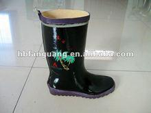 Women's Black Anti-slip Natural Rubber Work Boot