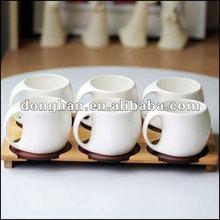 creative special handle design white ceramic espresso coffee set