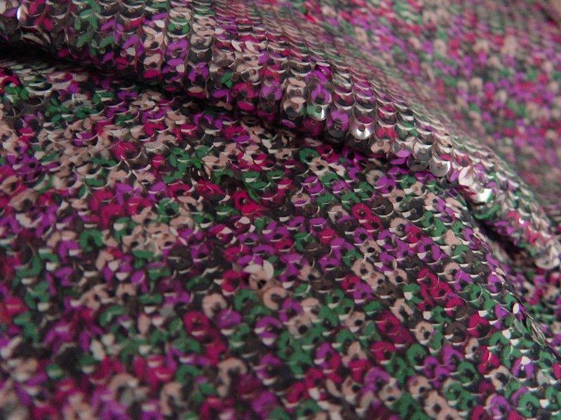 Flor color de rosa impresa bordados de lentejuelas de tela para prendas de vestir