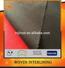 Buckram polyester twill woven fusible interlining