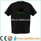 2014 hot sale sound effect round neck custom led light shirt
