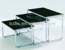 Metal chrome frame,with wheels coffee table