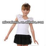 flower sleeves fashion plain kid T-shirt& hot mini skirt