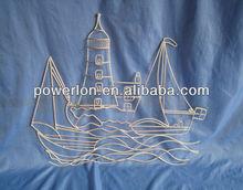 Decorative white iron handcraft metal sailing boat wall decoration