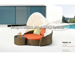 leisure outdoor PE rattan weaving furniture lounge sun bed sofa(TG0051-19)