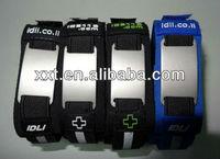 Engraved Stainless steel Tags Neoprene Ankle ID bracelet/Sport