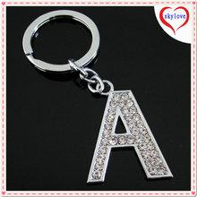 Custom promotion zinc alloy crystal A letter keychain alphabet key ring