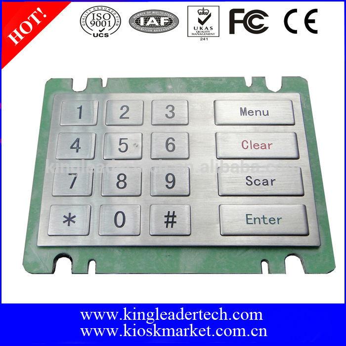 Rugged industrial metal ATM numeric kiosk atm keypad with 16 flat keys