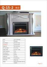 Q-15-2 golden edge china embedded heater decor flame electric fireplace /decorative electric fireplace logs