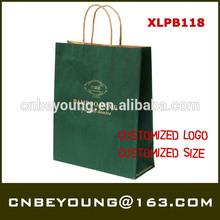 Customized take away printed kraft paper bag with twist paper handle