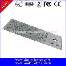 Rugged kiosk metal industrial panel mount keyboard with optical trackball