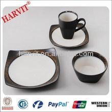 Alibaba-China 16pc Dinner Set /Reactive Glossy Glaze Stoneware Bowls Plate Mugs /Crockery Items/Wholesale Dinnerware