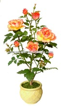 green leaves artificial silk flower 7 flws 02-Rose2-F1 MANUAL HAND MADE ARTIFICIAL TREE