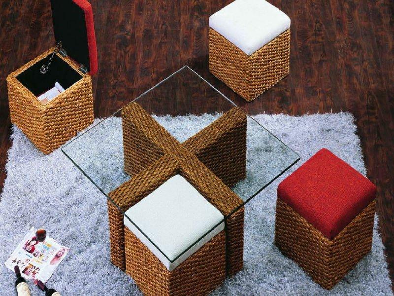 ( tecido a mão por vime, jacinto& acasia moldura de madeira) mais moda jacinto de água 4- pedaço de mesa de café set