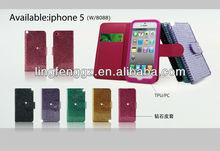 3d flash case for iphone 5 case 3d leather flip effect mobile phone case for iphone 5s case