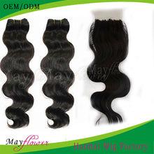 5a cheap unprocessed brazilian body wave hair extension match one silk base closure free part hidden/bleached knots