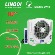 Solar panel charging solar fan 10'' rechargeable celling fan