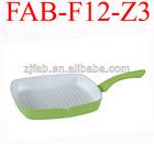 Hot and Eco-friendly Green Aluminium non-stick white Ceramic coated Grill Pan