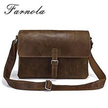 custom make vintage man crazy horse genuine leather messenger bag wholesale