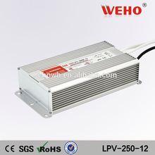 24 mounth warranty IP67 waterproof 12v power supply 250w waterproof led driver