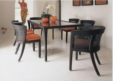 best price wicker dining table and chair set YT-057C/1C YT-057T