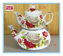 Cheap enamel tea kettle 2.5+0.75L water kettle,Triangle enamel camping tea kettle,cookware solid enamel kettle