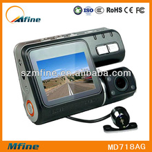 """I1000 2.0"""" full hd 720p car rear view camera,double cameras for front and back"""